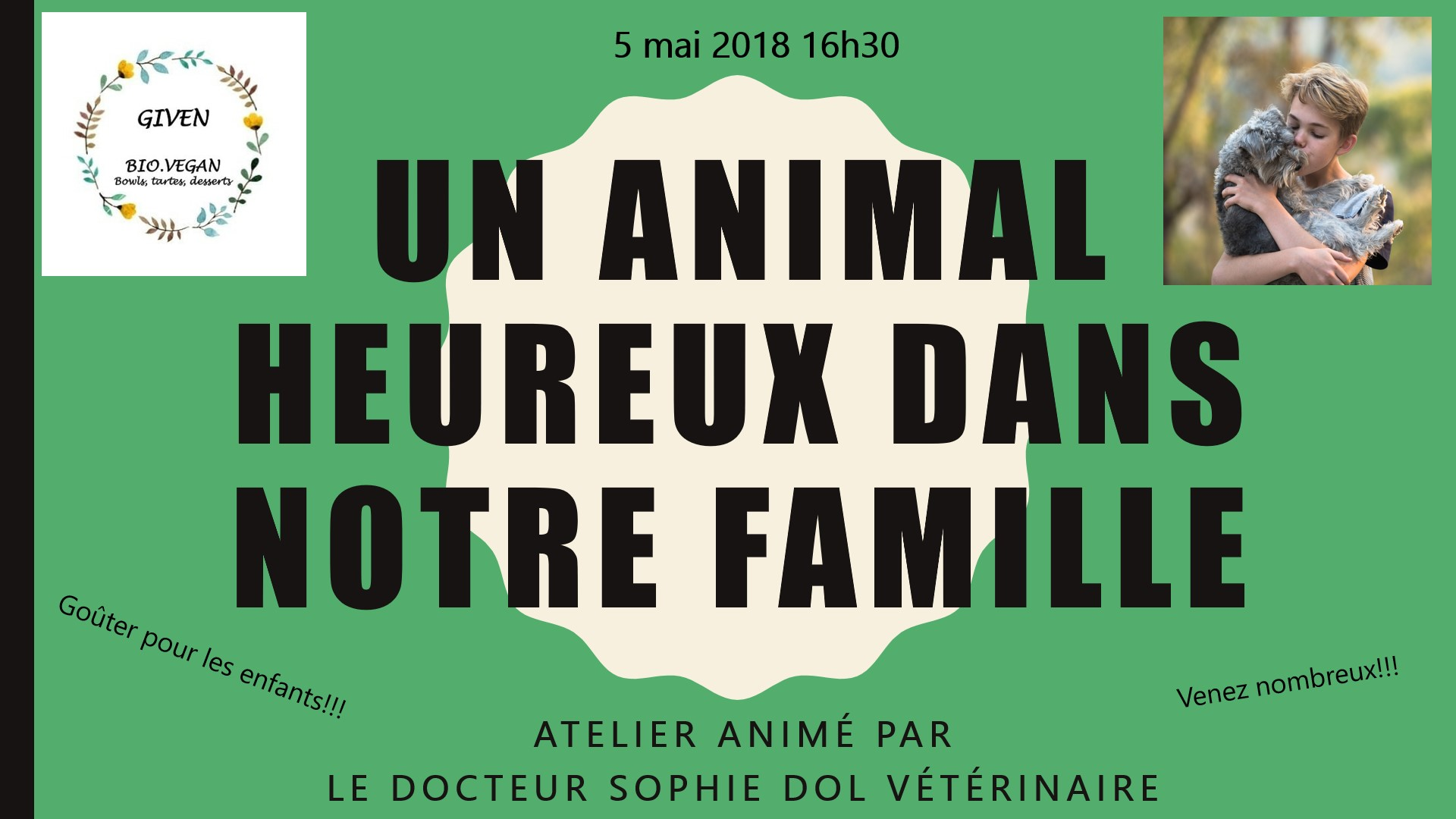 Atelier enfant 5 mai 2018 – Un animal heureux dans notre famille