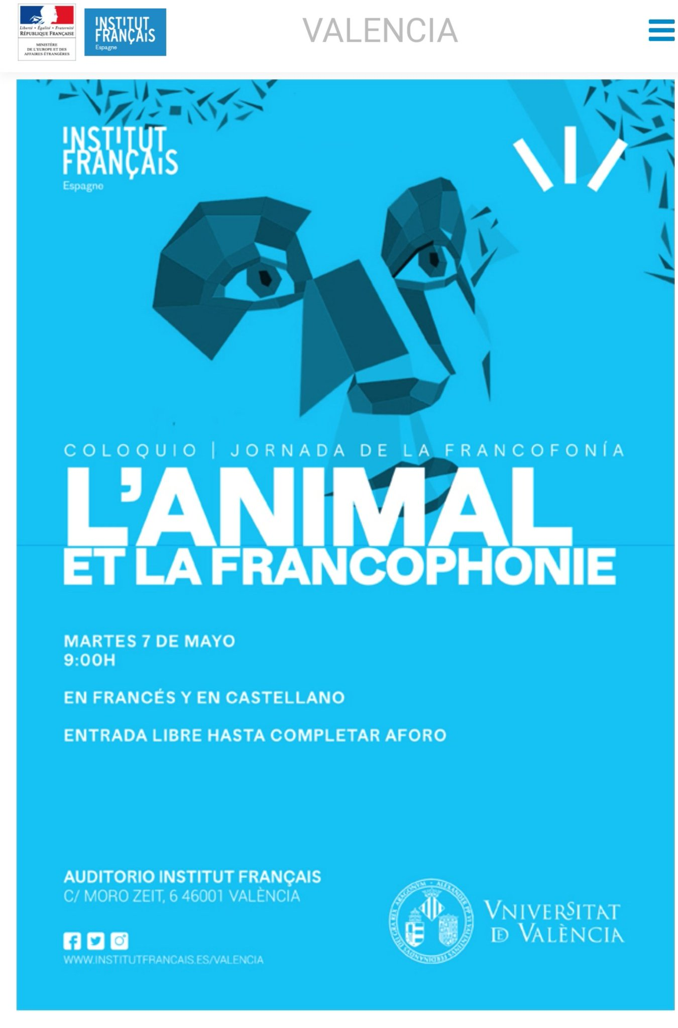 [7 mai] L'animal et la francophonie, Valencia