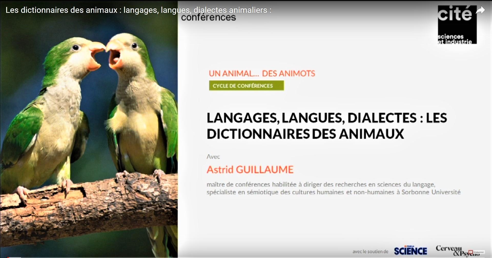 [Vidéo – conf Cité des sciences] Les dictionnaires des animaux: langages, langues et dialectes